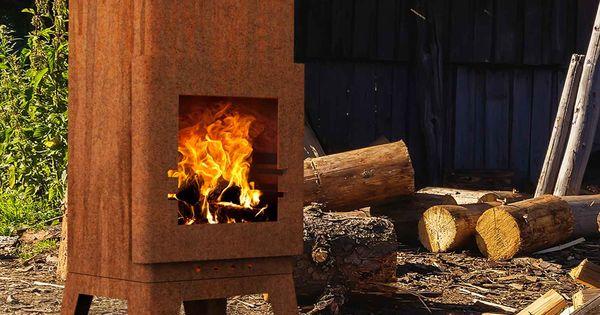 Grill Und Gartenkamin Baldur In Rost Optik Cortenstahl Aussenkamin Feuerstelle