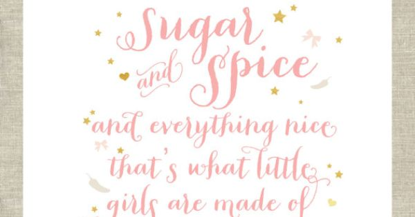 Wall Art Print Girls Room Sugar And Spice And
