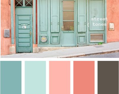 Bedroom Color Palette | soft, coral and sea foam green walls the