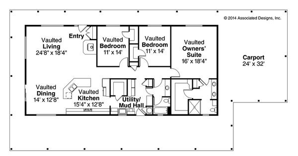 New ranch house plan madrone 30 749 by associated for Ranch house designs inc