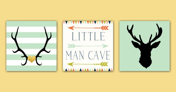 Man Cave Baby Room : Baby boy nursery decor antlers deer head arrows