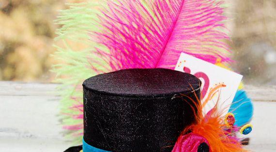 Mad Hatter Mini Top Hat in NEON colors- Alice in Wonderland -