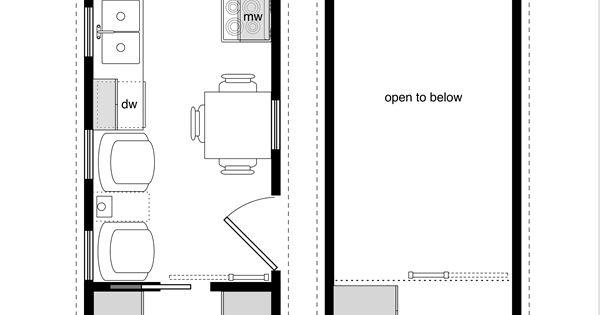 8x32 tiny house plan with a bedroom on main floor for Tiny house with main floor bedroom