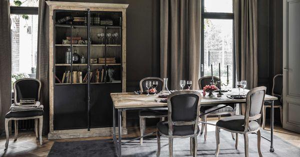 Table de salle manger en bois et m tal l 220 cm mirabeau for Table de salle a manger maison du monde