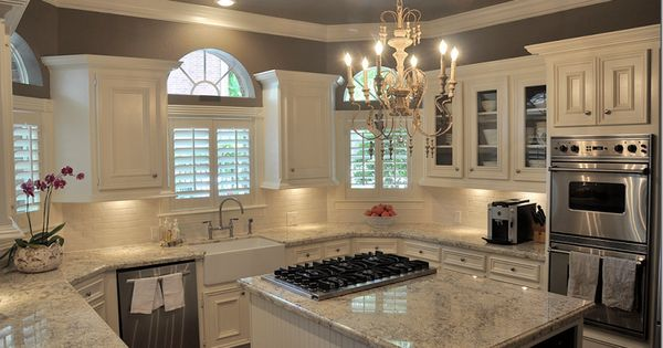 My dream kitchen!! Dark wood floor, white & grey granite, white cabinets,