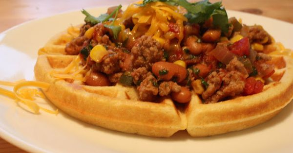 chipotle tamale waffles! spicy ground turkey and pinto beans served ...
