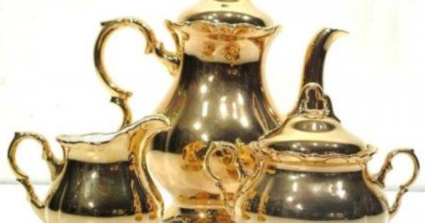 Vintage German Bavaria Gold Porcelain Coffee Tea Set Tea Set Tea Tea Pots