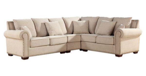 Italian Linen Sectional Sofa With Nailhead Trim And Kiln