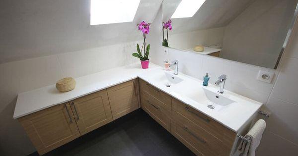 Meuble double vasque sous rampant un maximum de rangement for Meubles salle de bain sur mesure