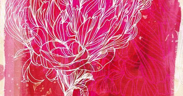 Peony ~ artist Paula Mills art illustration journal