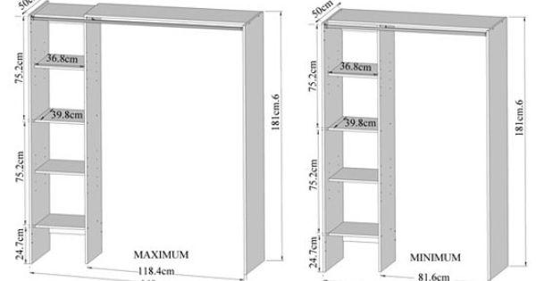 Rangements composables armoire dressing extensible pratico blanc et rideau - Armoire dressing extensible ...