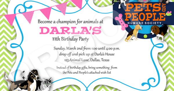 Pin By Dolly Gray Robison On My Party Printables Humane Society Birthday Party Animal Birthday Party 9th Birthday Parties