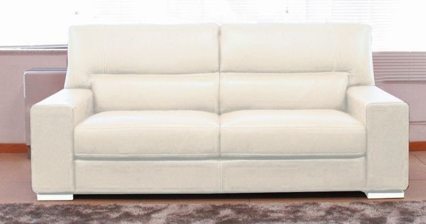 Canap 3 places smerlado cuir massif blanc prix promo for Prix canape pas cher