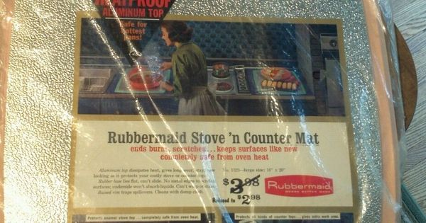 Vintage 1960s Large Rubbermaid Stove N Counter Mat Pink