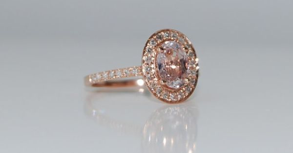 Oval Peach Champagne Sapphire Diamond Ring 14k rose gold