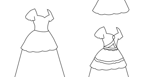 how to draw a simple dress step by step