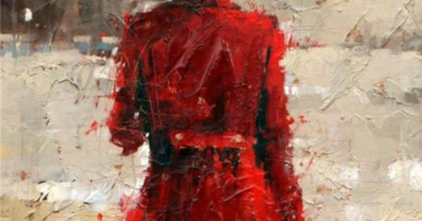 the woman in the red coat