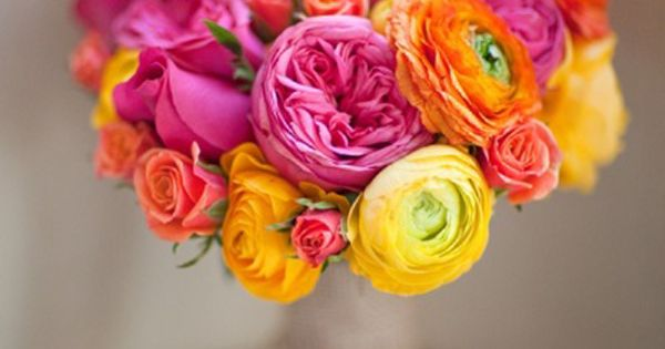 pink, yellow & orange summer bridal bouquet. wedding flowers