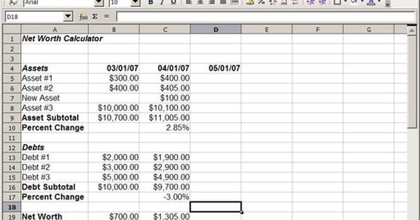 Building Your Own Monthly Net Worth Calculator Using A Spreadsheet - debt payoff calculator