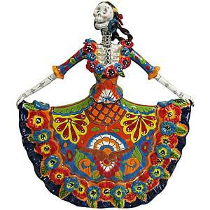 22 CATRINA with DANCER DRESS mexican talavera day of the dead colorful folk art