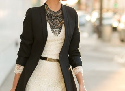 Navy blazer and lace dress businesscasual casual businessattire businessclothes summerclothes workclothes professionalattire