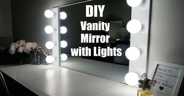 diy vanity mirror with lights under 100 simplysandra youtube apartment pinterest. Black Bedroom Furniture Sets. Home Design Ideas