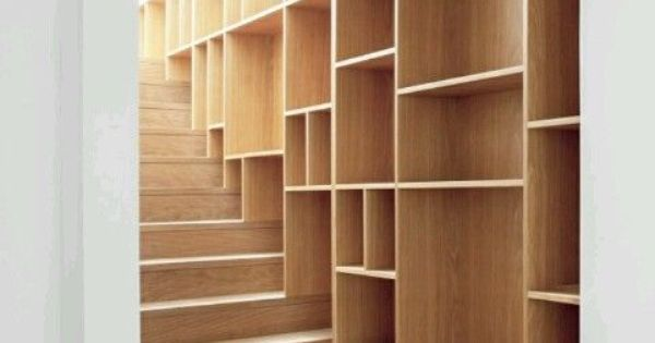 Integrated shelving library on wood staircase library office ideas pinterest wood - Staircases with integrated bookshelves ...