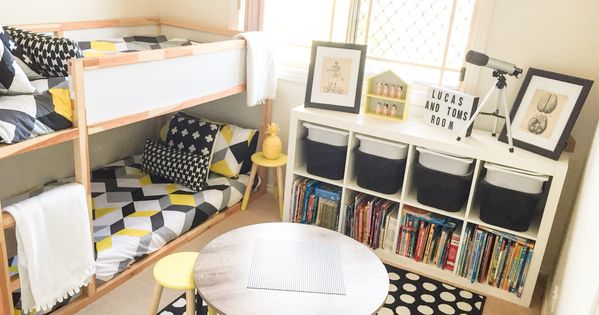 Shared Boys Geometrical Bedroom Combination Of Ikea And Kmart Styling Pinteres