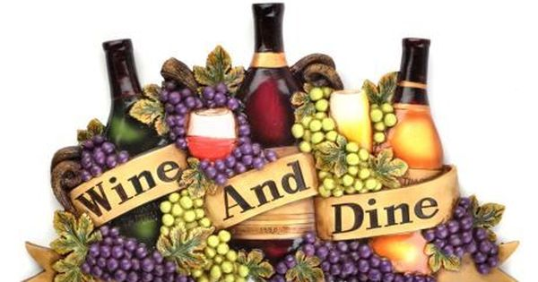 Grapes wine bottle wall art plaque tuscan vineyard kitchen for Wine and dine wall art