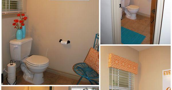 Orange turquoise bathroom with free print every for Bathroom decor orlando
