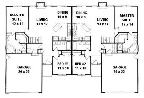 Plan 2190a duplex ranch first floor plan dream for Ranch duplex plans
