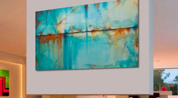 Pinturas al leo abstractas grande turquesa azul verde por for Pintura verde turquesa