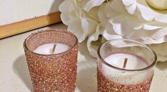25 Rose Gold Votive Candles Wedding Centerpiece Rose Gold Centerpieces Rose 21st Birthday