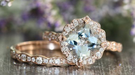 Vintage Floral Aquamarine Engagement Ring and Scalloped Diamond Wedding Band Bridal Set