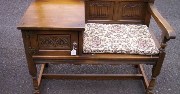 Lovely Oak Genuine Old Charm Hall Seat Telephone Table Settle