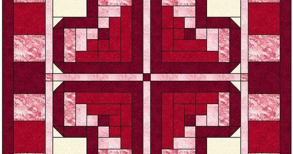 Log Cabin Heart Quilt Block Pattern Patterns, Cabin and Logs