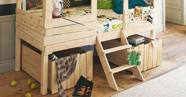 Lit cabane 90x200cm Woody Wood | Rangement | Pinterest | Bútorok