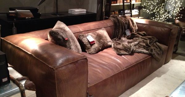 Restoration Hardware Fulham Sofa Matador Nutmeg Leather