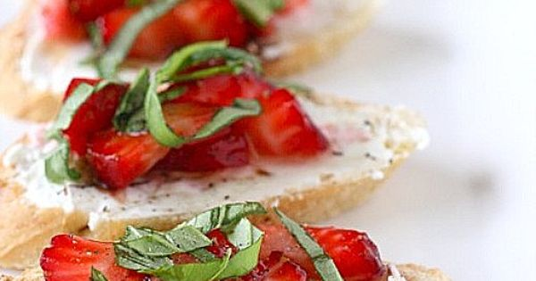 summer appetizer - strawberry bruschetta with goat cheese, and a drizzle of
