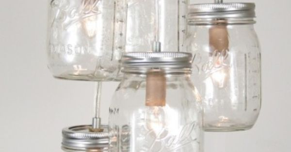 Mason Jar Cluster Chandelier I- Rustic Mason Jar Lighting, Hanging Mason Jar