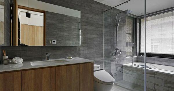 Ba o moderno al estilo minimalista con pared de losas for Losas banos modernos