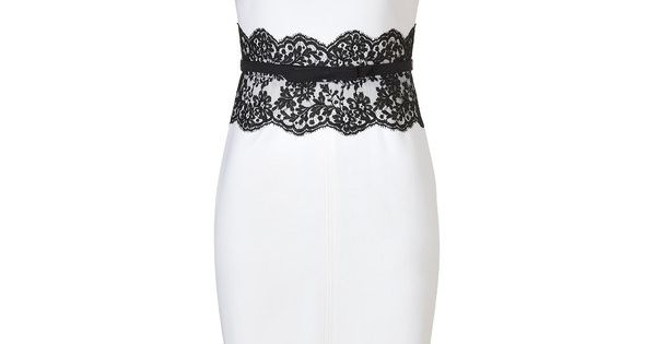 VALENTINO Ivory Belted Wool Dress With Black Lace Waist....stunning!!!