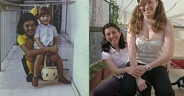 Recreating childhood photos - hilarious gift for parents. Such a cute idea!