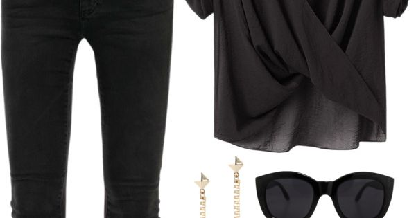 Sexy loose chiffon black top with plunging V. With a pop of