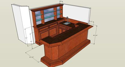 U Shaped Cherry Bar W Mahogany Top Home Bar Designs Home Bar Plans Basement Bar Designs