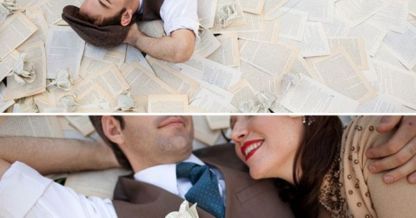 I love engagement photos that involve books and music. Since Sean and
