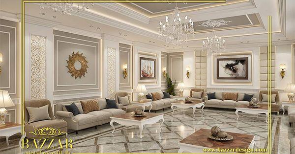 مجلس نساء نيوكلاسيك بدرجات اللون البيج و استخدم المصمم الكنب ذات الخشب الثقيل و تصميم البانوهات في ال Ceiling Design Bedroom Bedroom Design Luxurious Bedrooms