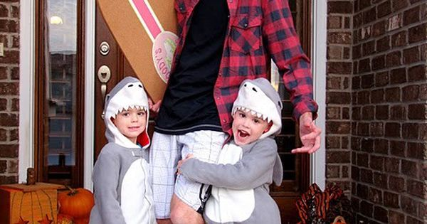 Family halloween costume idea Shark attack! Dad is the surfer and the