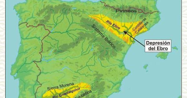 Hay Dos Grandes Depresiones En La Peninsula Iberica La Del Ebro Al Noreste Y La Del Guadalquivir Al Suroeste Geografia Fisica Geografia Ebro