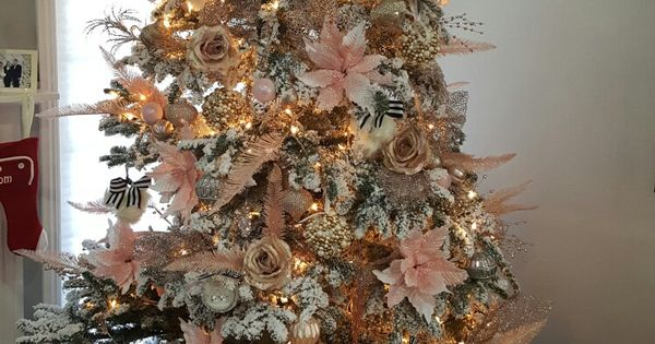 White Christmas Tree, Blush, Pink, Gold, Champagne And